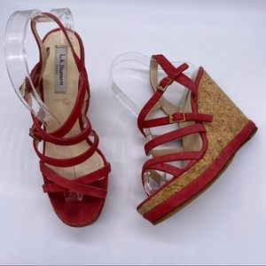L.K. Bennett  Strappy Platform Cork Wedge Sandals